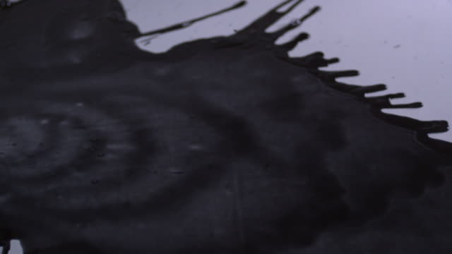 shot of pouring black ink on white surface - spilling stock videos and b-roll footage