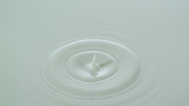 MS SLO MO Shot of pouring several drops of milk in cup / Studio, New Jersey, United States