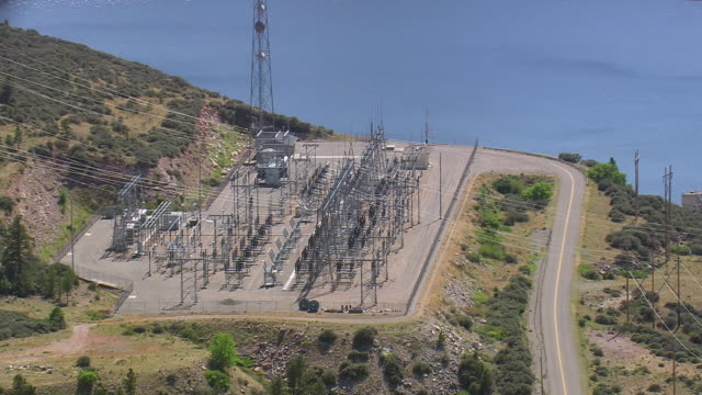 ms aerial shot of power station near dam / montana, united states - hydroelectric power stock videos & royalty-free footage