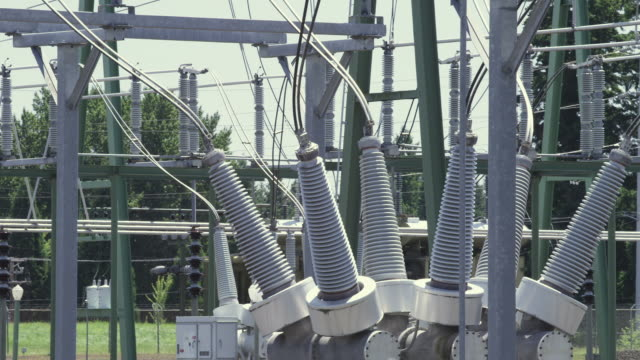MS Shot of power station with electrical grid, transformers and more / Beaverton, Oregon, United States