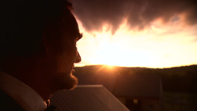CU ZI Shot of President Abraham Lincoln looking at sunset / Clear Spring, Maryland, United States