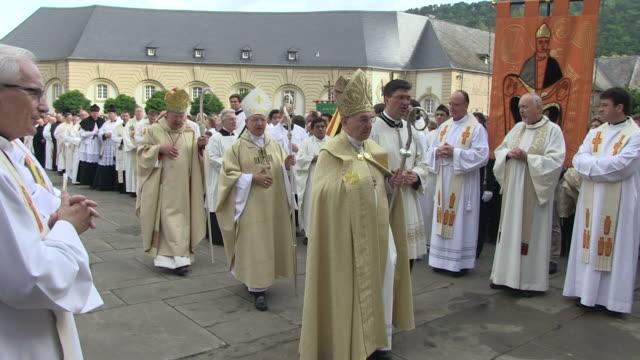 ms pan shot of  procession of echternach / echternach, echternach, luxembourg - pope stock videos and b-roll footage