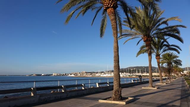 WS Shot of promenade at Parc de la Mar / Palma de Mallorca, Mallorca, Balearic Islands, Spain