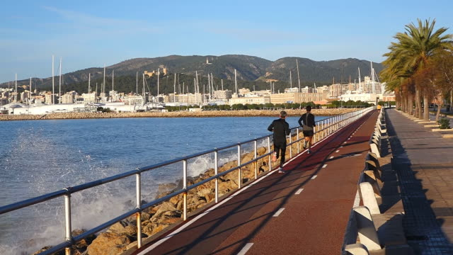 ws shot of promenade at parc de la mar / palma de mallorca, mallorca, balearic islands, spain - palma video stock e b–roll