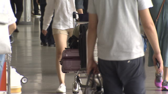 Shot of pulling luggage cart at Incheon International Airport