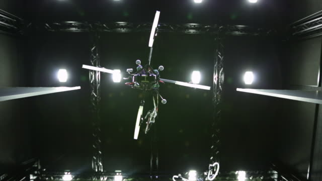 MS Shot of quadcopters flying at max planck institute / Tubingen, Baden-Württemberg, Germany