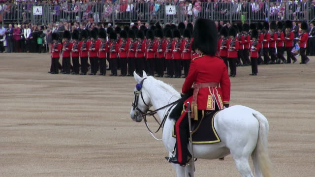 ms shot of queen's birthday parade at whitelhall audio / london, united kingdom - queen royal person stock videos and b-roll footage