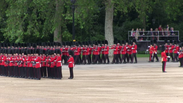 MS Shot of Queen's Birthday Parade at Whitelhall / London, United Kingdom