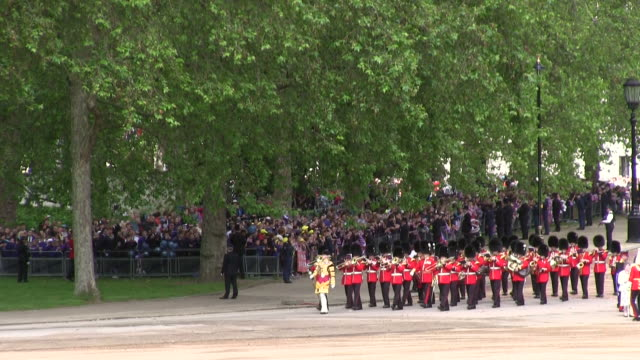 ms shot of queen's birthday parade in trooping colour at whitelhall audio / london, united kingdom - queen royal person stock videos and b-roll footage