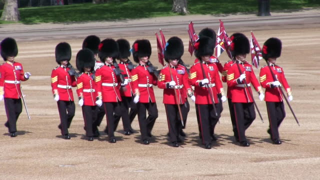 ms ts shot of queen's birthday parade in trooping colour at whitelhall / london, united kingdom - queen royal person stock videos and b-roll footage