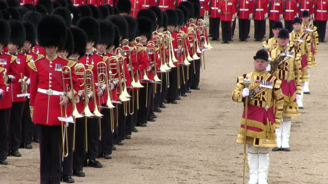 ms shot of queen's birthday parade in trooping colour at whitelhall  / london, united kingdom - queen royal person stock videos and b-roll footage