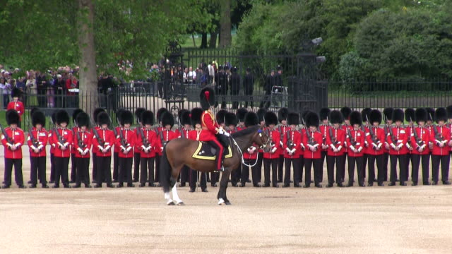 ms shot of queen's birthday parade  with horse gurads in trooping colour at whitelhall audio / london, united kingdom - queen royal person stock videos and b-roll footage