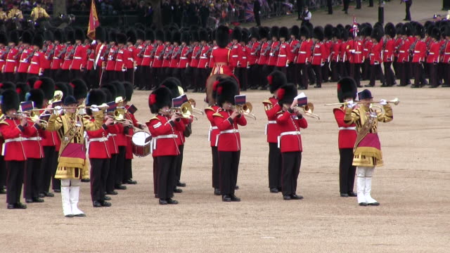 MS Shot of Queen's Birthday Parade with horse gurads in Trooping Colour at Whitelhall AUDIO / London, United Kingdom