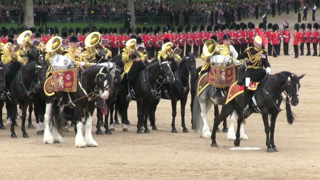 MS Shot of Queen's Birthday Parade with horse gurads in Trooping Colour at Whitelhall / London, United Kingdom