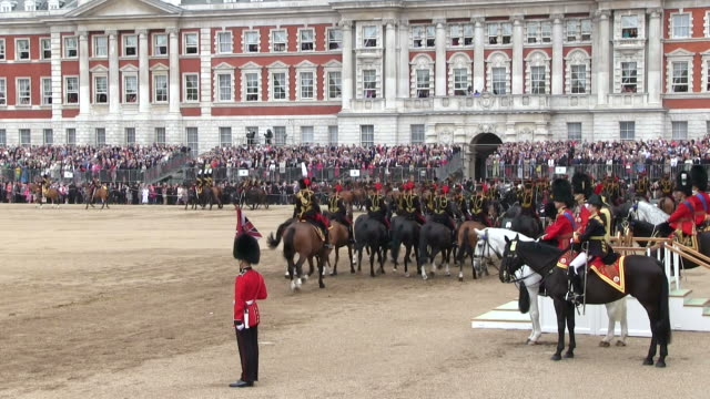 ms shot of queen's birthday parade with horse gurads in trooping colour at whitelhall audio / london, united kingdom - queen's birthday stock videos & royalty-free footage