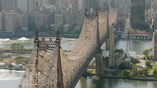 AERIAL MS ZO Shot of Queensbury  bridge/ New York City