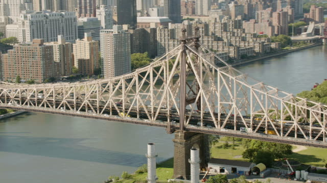 AERIAL MS ZI Shot of Queensbury  bridge with moving vehicles / New York City