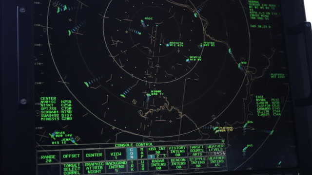 cu r/f shot of radar screen in air traffic control tower / sterling, virginia, united states - pannello di controllo video stock e b–roll