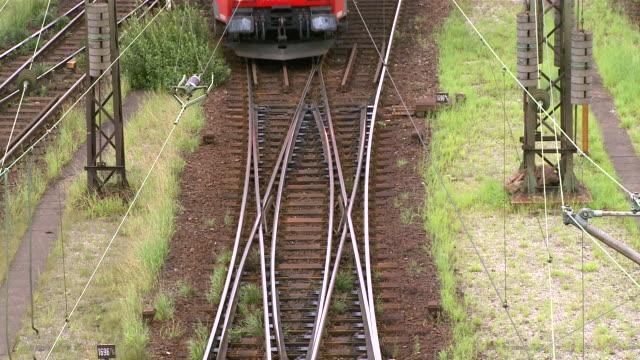 ms shot of railroad yard maschen near hamburg / maschen, lower saxony, germany - 操車場点の映像素材/bロール