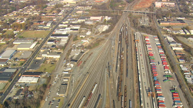 ms aerial shot of railway tracks in charlotte city / north carolina, united states - charlotte north carolina stock videos & royalty-free footage