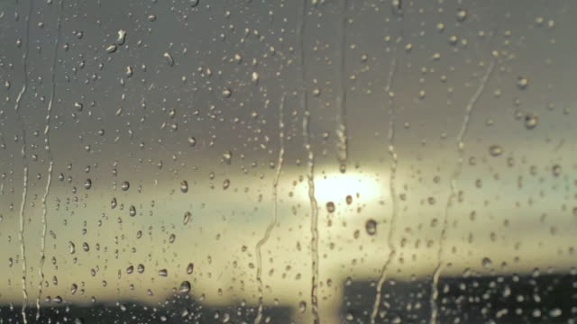 cu r/f shot of raindrops on window / los angeles, california, united states - pioggia video stock e b–roll