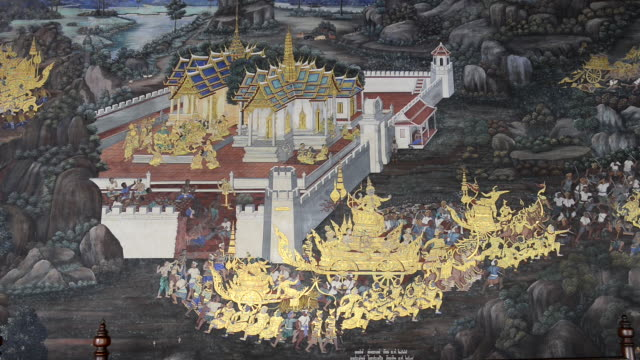 WS Shot of ramakien painting in wat phra kaeo temple in grand palace / Bangkok, Thailand