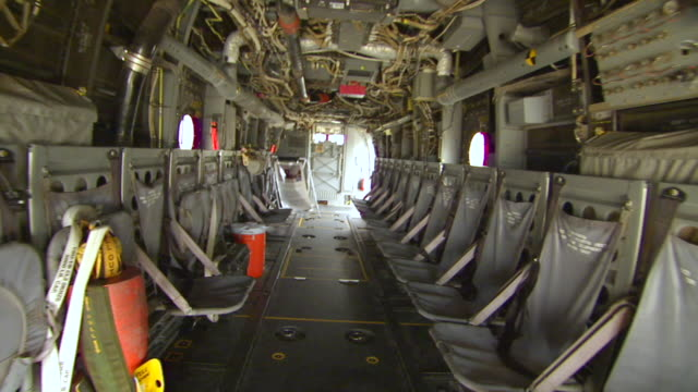 ms pov shot of ramp and inside v22 osprey / prince george's county, maryland, united states - portello video stock e b–roll