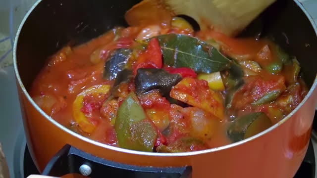 ecu shot of ratatouille dish cooking on stove at home / tokyo, japan  - french food stock videos & royalty-free footage