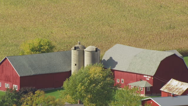 cu aerial shot of red barn and farm grain elevators in door county / wisconsin, united states - barn stock videos & royalty-free footage