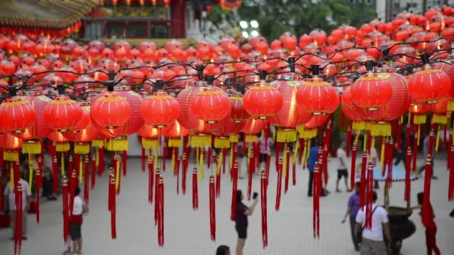 MS Shot of Red Lanterns in Thean Hou Temple / Kuala Lumpur, Malaysia
