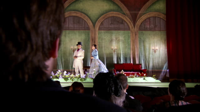 ms pan shot of reenactment actors performing on stage at fords theatre / united states - spettacolo teatrale video stock e b–roll