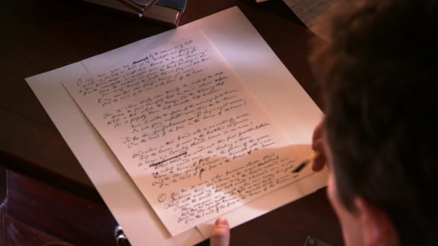 ms shot of reenactment francis scott key reviews manuscript of star spangled banner / alexandria, virginia, united states  - author stock videos & royalty-free footage