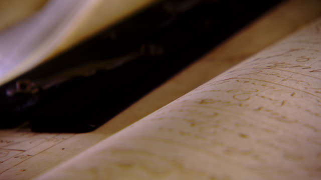 ecu pan shot of reenactment handwritten page to ink stained slit of quill pen / falls church, virginia, united states    - diary stock videos & royalty-free footage