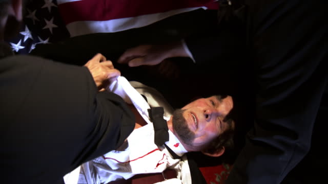 ms zi shot of reenactment people opening up shirt of shot president abraham lincoln at fords theatre / united states - assassination stock videos and b-roll footage