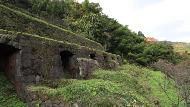 ms pan shot of refinery at iwami ginzan silver mine,world heritage / iwami, shimane prefecture, japan - shimane prefecture stock videos & royalty-free footage
