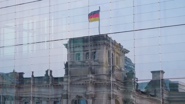 cu shot of reflection of reichstag in marie elisabeth luders haus / berlin, germany - the reichstag stock videos & royalty-free footage