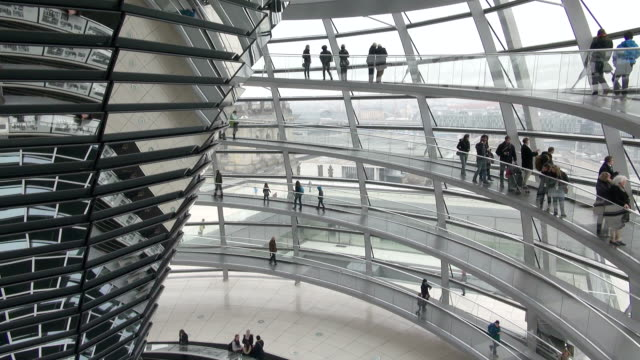 ms td shot of reichstag building and glass dome / berlin, germany - cupola video stock e b–roll
