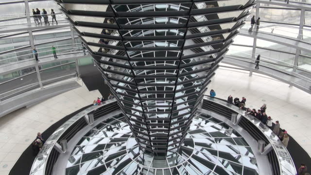 ms tu shot of reichstag building and glass dome / berlin, germany - cupola video stock e b–roll
