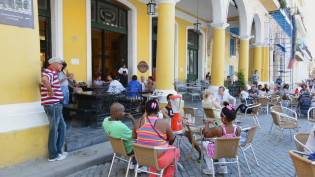 WS Shot of relaxing people in square caf̩ / Havana, Cuba