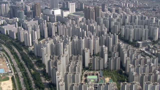 shot of residential district at jamsil - seoul stock videos & royalty-free footage