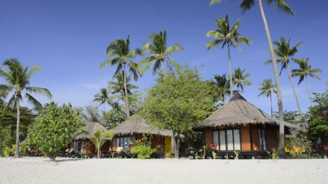 ws shot of resort with seaside bungalows and palm trees at sandy beach, hat chao mai marine national park / ko mook, trang, thailand - strohdach stock-videos und b-roll-filmmaterial