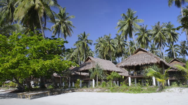 MS Shot of Resort with seaside Bungalows and Palmtrees at sandy Hua Laem Prao Beach, Hat Chao Mai Marine National Park / Ko Mook, Trang, Thailand