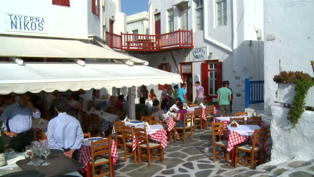 ms shot of restaurant / myconos, cylades islands, greece - mykonos stock videos and b-roll footage