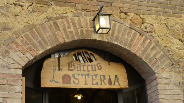 MS Shot of Restaurant sign / Pienza, Tuscany, Italy