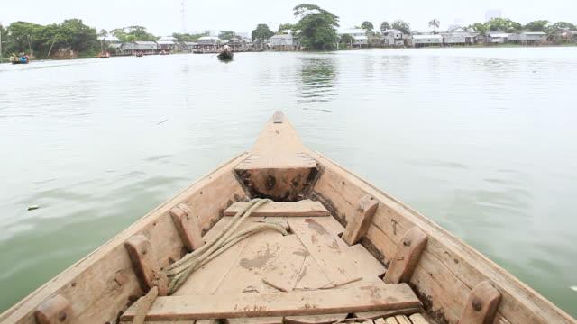 ws pov shot of riding on water taxi to korail slum / dhaka, bangladesh - water taxi stock videos & royalty-free footage