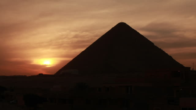 Shot of Rising Sun over Egypt Pyramid