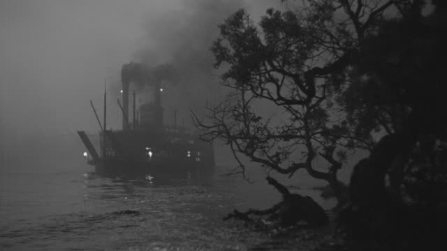 ws shot of river boat run by with trees in front - steam liner stock videos & royalty-free footage