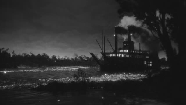 ws shot of river boat sailing - steam liner stock videos & royalty-free footage