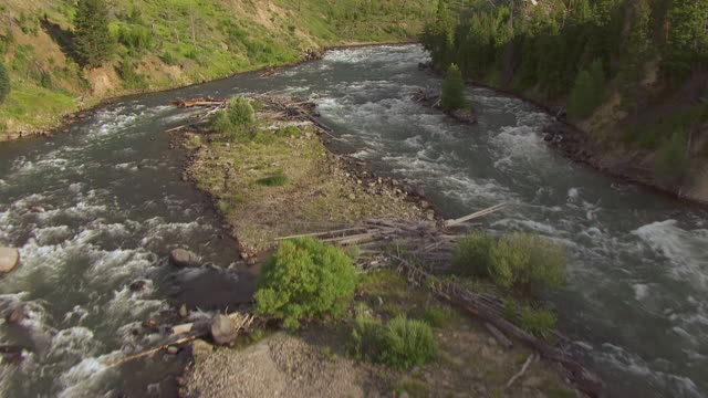MS AERIAL TU Shot of River in Grand Canyon in Yellowstone National Park / Wyoming, United States