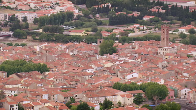 MS AERIAL Shot of Rivesaltes city / Languedoc Roussillon, France